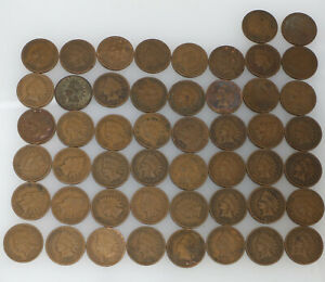 LOT OF 50 BRONZE INDIAN HEAD PENNIES 1882 1907
