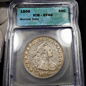1805 EF40 DRAPED BUST HALF DOLLAR 50C ICG GRADED XF40 EXTRA FINE