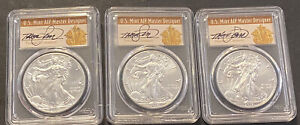 2017 P PCGS S MINT MS70 W SP70 LOT OF 3 AMERICAN SILVER EAGLE THOMAS CLEVELAND