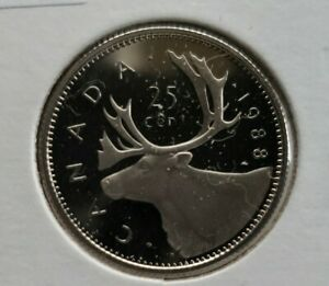 1988 CANADA PROOF QUARTER  $.25  COIN  UNCIRCULATED