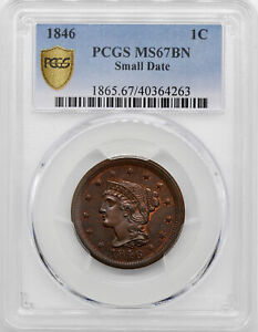 Click now to see the BUY IT NOW Price! 1846 BRAIDED HAIR 1C PCGS MS 67 BN
