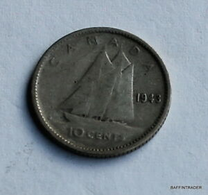 CANADA 1943 CANADIAN  DIME 10 CENT COIN GEORGE VI