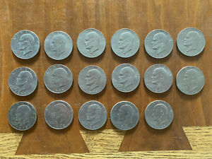 1971 1978 EISENHOWER U.S. COIN DOLLAR LOT OF 17 COINS CIRCULATED IKE COIN