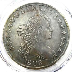 1802 DRAPED BUST SILVER DOLLAR $1 COIN. CERTIFIED PCGS XF DETAIL  EF .  DATE