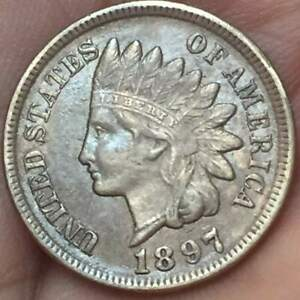 1897 INDIAN HEAD CENT    AU/UNC    BEAUTIFUL LUSTER U GRADE THE COIN