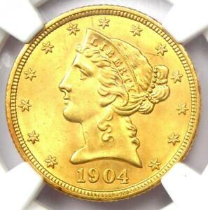 1904 LIBERTY GOLD HALF EAGLE $5 COIN. CERTIFIED NGC UNCIRCULATED DETAIL  UNC MS