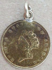 TYPE 3 US $1 GOLD INDIAN LOVE TOKEN MONO REV WITH BALE PRETTY NICE PATINA