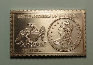 1838 50 CENTS LIBERTY CAPPED BUST HALF 1/2 DOLLAR NUMISTAMP MEDAL MORT REED 1975