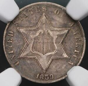 1859 THREE CENT SILVER NGC XF DETAILS BENT    DOUBLEJCOINS  5009 93