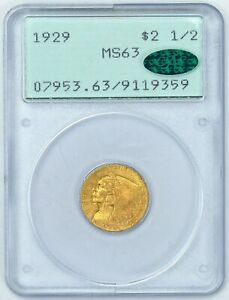 PCGS CAC 1929 MS63 $2.5 GOLD INDIAN  RATTLER