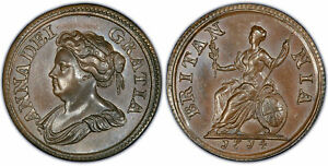 Click now to see the BUY IT NOW Price! BRITAIN ANNE. 1714 AR PATTERN FARTHING. PCGS PR65BN. PECK 741.