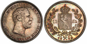 Click now to see the BUY IT NOW Price! NORWAY. CHARLES XV 1862 AR 12 SKILLING. PCGS MS64 KM 320. ATTRACTIVELY TONED