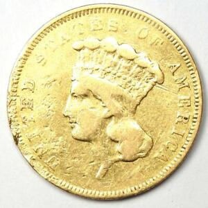 1855 INDIAN THREE DOLLAR GOLD COIN  $3    VF DETAILS  DAMAGE     COIN