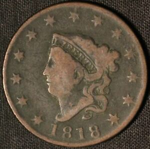 1818 CORONET HEAD LARGE CENT    IN USA