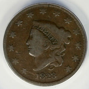 1828 LARGE DATE 1C LARGE CENT LIBERTY HEAD ANACS VG8