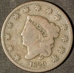 1829 CORONET HEAD LARGE CENT   MEDIUM LETTERS    USA