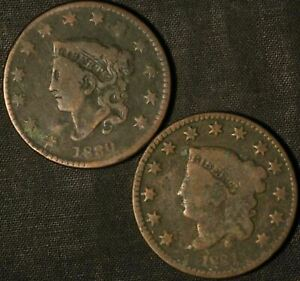 1830 AND 1831 CORONET HEAD LARGE CENT    USA