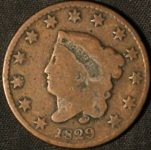 1829 CORONET HEAD LARGE CENT    USA