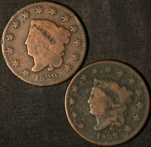 1829 AND 1832 CORONET HEAD LARGE CENT    USA