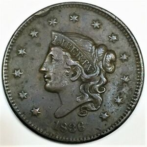 1836 CORONET HEAD LARGE CENT BEAUTIFUL HIGH GRADE COIN  DATE