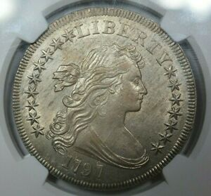 Click now to see the BUY IT NOW Price! 1797 $1 DRAPED BUST 9X7 LARGE LETTERS NGC AU58  STAR