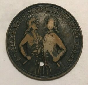 Click now to see the BUY IT NOW Price! 1739 ADMIRAL VERNON & COMMODOR BROWN MEDAL   PORTO BELLO   HOLED