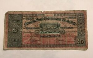 Click now to see the BUY IT NOW Price! 1911 12 NEWFOUNDLAND 25 CENTS    CURRENCY NOTE   SOME HOLES