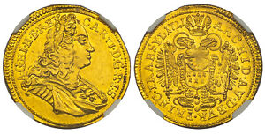 Click now to see the BUY IT NOW Price! TRANSYLVANIA. 1721 AV DUCAT. NGC MS62 KM 574; HER. 205; FR. 520.
