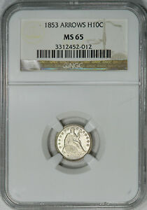 Click now to see the BUY IT NOW Price! 1853 ARROWS NGC MS65 SEATED HALF DIME STRICT GEM BU GREAT LUSTER & EYE APPEAL