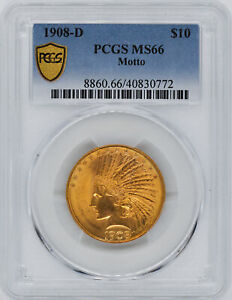 Click now to see the BUY IT NOW Price! 1908 D INDIAN $10 PCGS MS 66