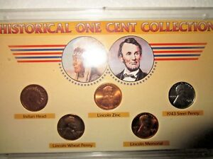HISTORICAL ONE CENT COLLECTION PENNY INDIAN HEAD LINCOLN MEMORIAL LINCOLN ZINC