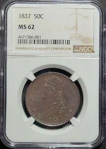 1837 CAPPED BUST HALF DOLLAR REEDED EDGE NGC CERTIFIED GRADED MS62   90  SILVER