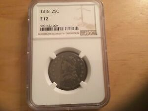 1818 CAPPED BUST 25C NGC F 12 COIN