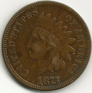 1875 INDIAN HEAD CENT PENNY BETTER DATE FULL LIBERTY