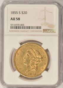 1855 S $20 LIBERTY GOLD DOUBLE EAGLE COIN NGC AU58   NICE TYPE 1 $20