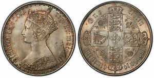 Click now to see the BUY IT NOW Price! GREAT BRITAIN. VICTORIA 1862 AR GOTHIC FLORIN TWO SHILLINGS PCGS MS64 SCBC 3891