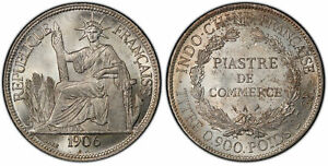 Click now to see the BUY IT NOW Price! FRENCH INDO CHINA. 1906 A AR PIASTRE. PCGS MS63 BARRE PARIS LECOMPTE 289.