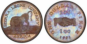 Click now to see the BUY IT NOW Price! SIERRA LEONE. 1791 BRONZED AE DOLLAR. PCGS PR65 SOHO KM 6A; VICE FT.2B.