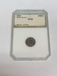 1872 LEGEND OBVERSE SEATED SILVER HALF DIME COIN