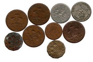 UK 9X COINS ALL CIRCULATED