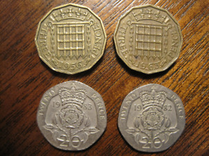 1956 AND 1963 GREAT BRITAIN 3 PENCE COINS WITH BONUS 1982 AND 1983 20 PENCE