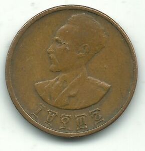 HIGHER GRADE 1936 1944 ETHIOPIA 5 CENTS COIN OCT434