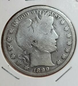 1899 PHILADELPHIA MINT SILVER BARBER HALF DOLLAR