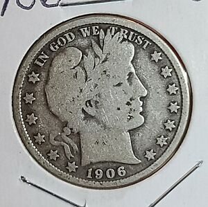 1906 D DENVER MINT SILVER US BARBER HALF DOLLAR