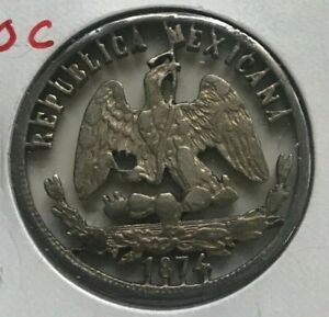 Click now to see the BUY IT NOW Price! 1874 MEXICO 50 CENTAVOS   CUT OUT JEWELRY ART