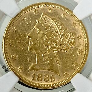 1885 U.S. $5 GOLD HALF EAGLE LIBERTY CORONET HEAD COIN TYPE 2 WITH MOTTO NGC AU