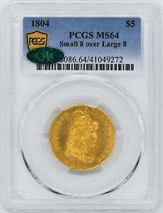 Click now to see the BUY IT NOW Price! 1804 DRAPED BUST $5 PCGS MS 64