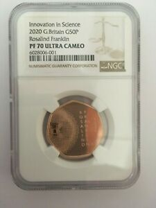 Click now to see the BUY IT NOW Price! 2020 ROSALIND FRANKLIN DNA 50P GOLD PROOF COIN NGC PF70 ULTRA CAM