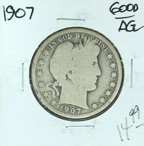 1907 BARBER SILVER HALF DOLLAR   GOOD/AG    NICE COIN