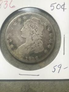 1836 CAPPED BUST HALF   VG   NICE LOWER GRADE TYPE COIN